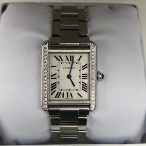 Cartier 卡地亚坦克系列后镶钻中号石英机芯女士腕表