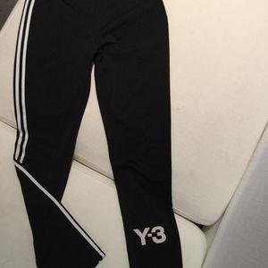 Y3 黑色经典三道杠运动裤