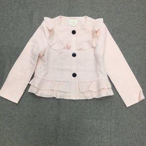 Kate Spade 凯特·丝蓓荷叶边装饰粉色三粒扣短外套
