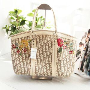 Dior 迪奥限量版绣花帆布配皮大号手提包