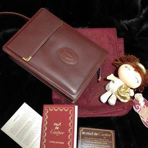 Cartier 卡地亚波尔多红金扣手包