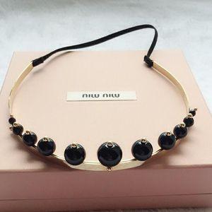 Miu Miu 缪缪黑色珍珠发箍