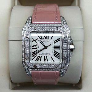 Cartier 卡地亚中号桑托斯皮带后钻机械腕表