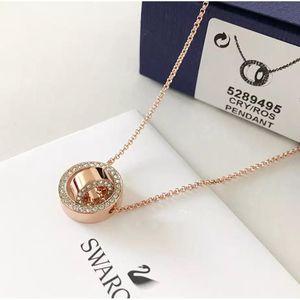 SWAROVSKI 施华洛世奇玫瑰金色双环转运珠项链