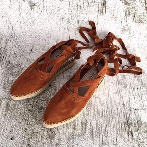 Miu Miu 缪缪女士水晶麂皮绑带厚底松糕休闲鞋