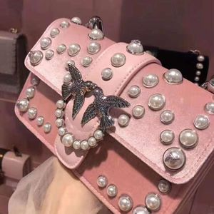 PINKO 品高浅粉色珍珠mini燕子单肩包