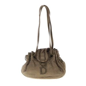 Dior 迪奥金属棕色皮革菱格单肩包