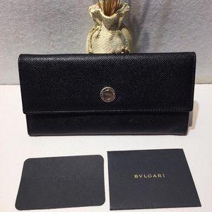 BVLGARI 宝格丽黑色牛皮钱包