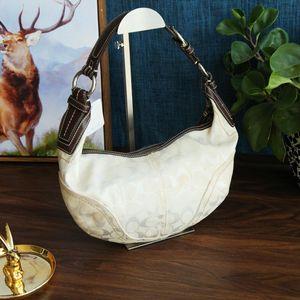 COACH 蔻驰米白色经典标志帆布手提包