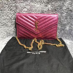 Saint Laurent Paris 圣罗兰粉色链条包