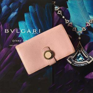 BVLGARI 宝格丽粉紫色全皮搭扣竖款两折长款钱包