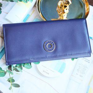 Celine 赛琳藏蓝色金环牛皮长款信封钱包
