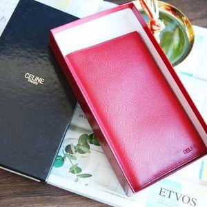 Celine 赛琳经典红色牛皮压纹双折式钱包