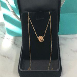 Tiffany & Co. 蒂芙尼twist系列18k玫瑰金编织毛线球项链