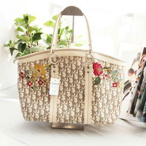Dior 迪奥限量版绣花帆布配皮大号菜篮子手提包