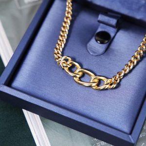 Dior 迪奥XL11253闪钻艺术环坠粗金丝项链锁骨链