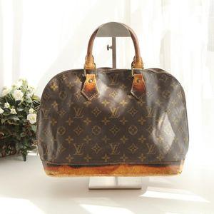 Louis Vuitton 路易·威登老花配皮大号贝壳包中古手提包