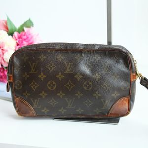 Louis Vuitton 路易·威登老花配皮中古手拿包