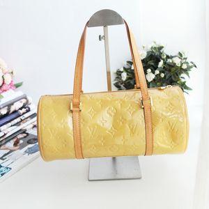 Louis Vuitton 路易.威登黄漆皮30圆筒包中古手提包