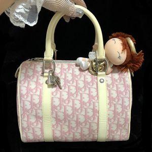 Dior 迪奥粉白老花波士顿枕头包