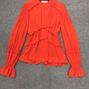 Tory Burch 托里·伯奇精美压折多处拼接收腰长袖桔色衬衫