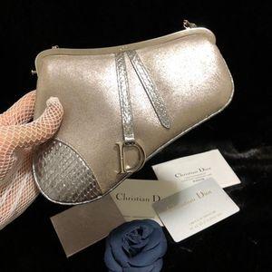 Dior 迪奥珠光麂皮拼蟒蛇皮mini马鞍包