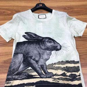 GUCCI 古驰浅绿色兔子短袖T恤