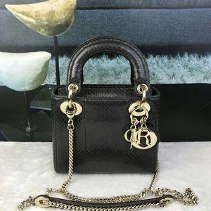 Dior 迪奥黑棕色金扣蟒蛇皮限量款三格戴妃包