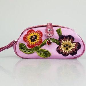 Dior 迪奥限量款浆果紫鳄鱼皮拼接手拿包