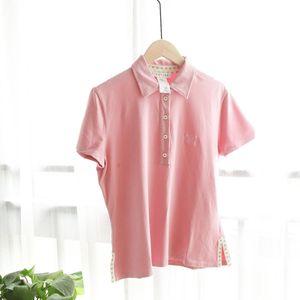 Celine 赛琳粉色刺绣标短袖衬衫T恤polo衫