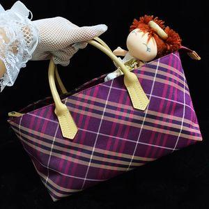 Burberry 博柏利炫彩粉紫格纹手提包