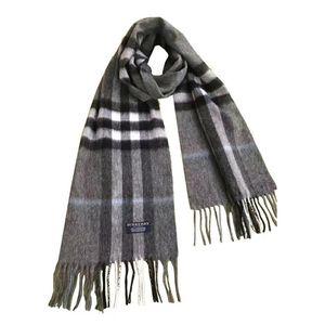Burberry 博柏利经典大格子灰色羊绒围巾