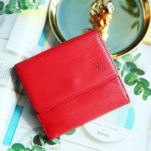 Louis Vuitton 路易·威登QB07062经典红色牛皮水波纹短款钱包