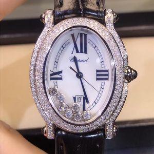 Chopard 萧邦快乐钻石系列椭圆后钻石英女表