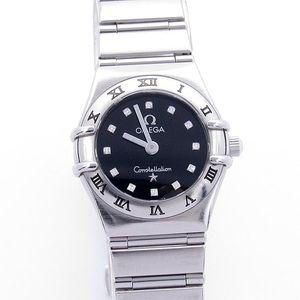 OMEGA 欧米茄星座系列镶钻黑盘石英手表