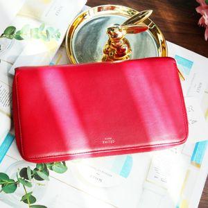 Celine 赛琳红色长款女士拉链钱包