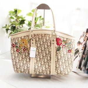 Dior 迪奥ST04028限量版绣花帆布配皮大号菜篮子手提包单肩包