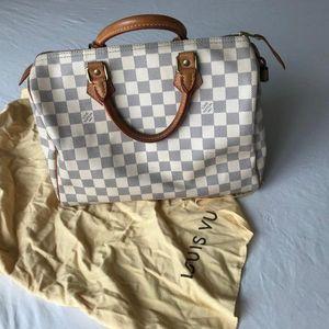 Louis Vuitton 路易·威登白色棋盘格枕头波士顿包