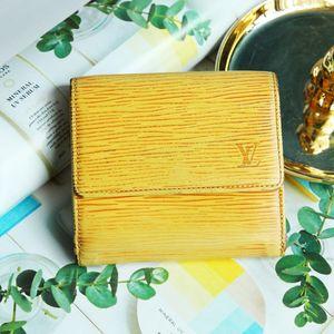 Louis Vuitton 路易·威登QB07012黄色牛皮水纹短款钱包