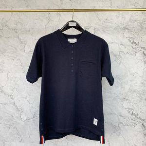 Thom Browne 汤姆·布朗V领藏蓝色短袖T恤