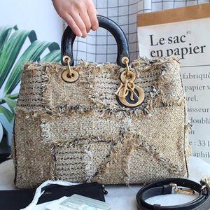 Dior 迪奥限量版Diorissimo编织拼鳄鱼皮手柄手提包