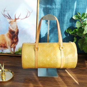 Louis Vuitton 路易·威登ST08003稀有黄色漆皮老花竹筒水桶手提包