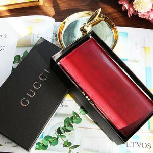 GUCCI 古驰QB07066稀有深莓红box皮长款金扣中古钱包