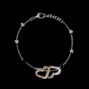 DOLCE&GABBANA 杜嘉班纳玫瑰金色水钻心心相印手链