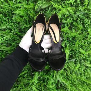 Bottega Veneta/葆蝶家黑色鸟头装饰女士高跟凉鞋