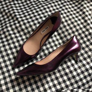 Miu Miu 缪缪优雅紫色女士低跟鞋