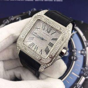 Cartier 卡地亚桑托斯系列满天星精钢后镶钻男士自动机械腕表