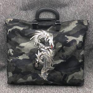 PRADA 普拉达 炎龙刺绣迷彩尼龙布手提包