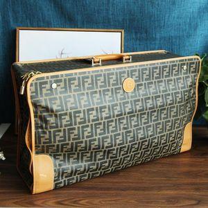 FENDI 芬迪LX08066经典条纹双F字母logo折叠旅行李箱