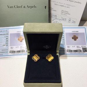 Van Cleef Arpels 梵克雅宝中号限量琥珀猫眼石AU750耳钉